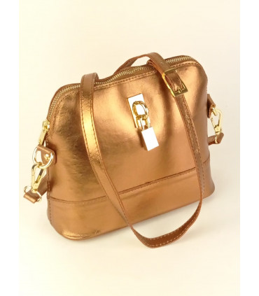 Metallic leather bag
