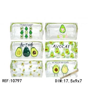 Transparent avocado toiletry bag