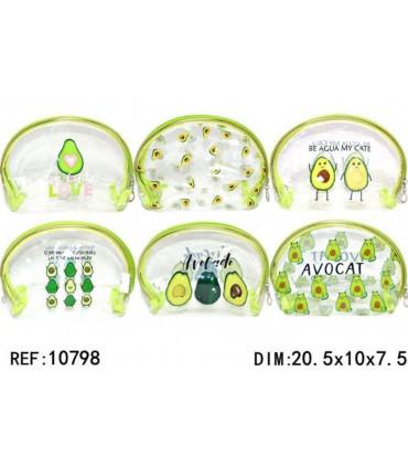 Transparent toiletry bag avocado
