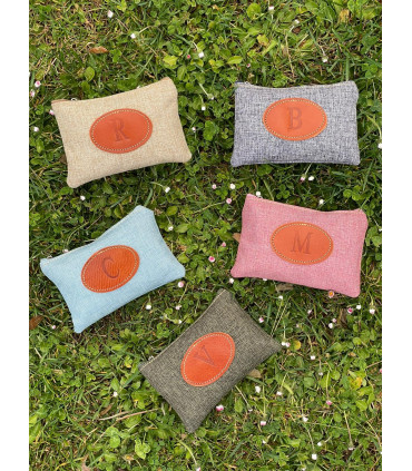 Canvas coin purse with leather