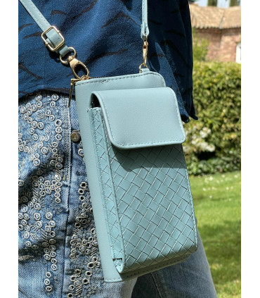 Synthetic wallet with phone case