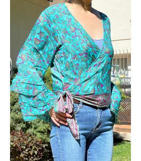 V neckline Indian Style printed blouse