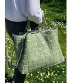 Padded effect leather Tote
