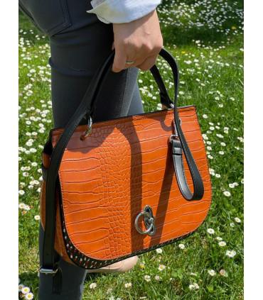 Croco print synthetic handbag