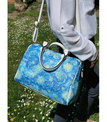 Printed synthetic briefcase bag