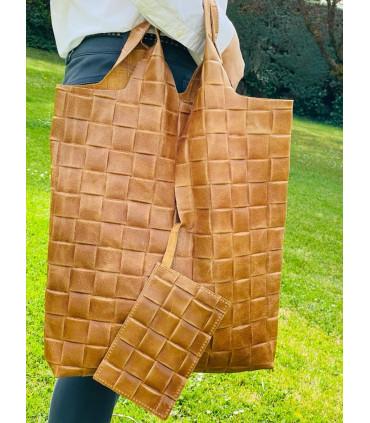 Braided effect leather sac bag