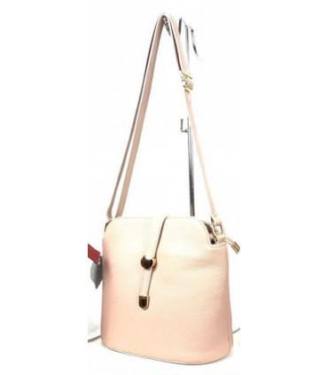 Leather crossbag with leather strip