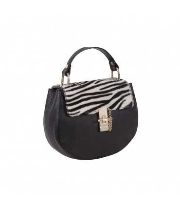 Leather bag with animal flap