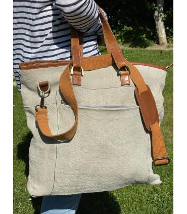 Linen and leather shoulder bag