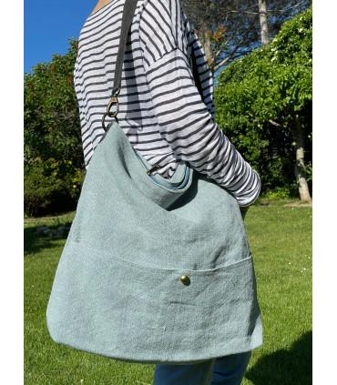 Linen and cotton shoulder bag