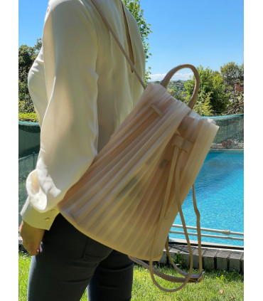 Silicone backpack bag with pleated design