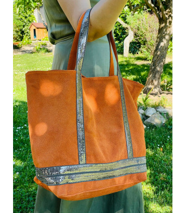 Leather bag with split leather and printed glitter