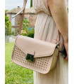 Synthetic satchel with flap