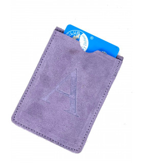 leather card holder with initial letter