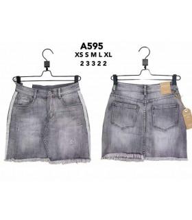Washed denim short skirt