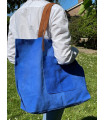 Split leather shopper bag