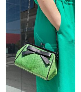 Leather clutch with bowtie