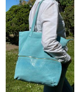 Split leather shoulder bag