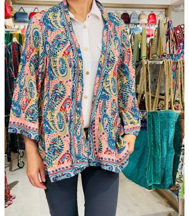 Kimono corto étnico manga larga