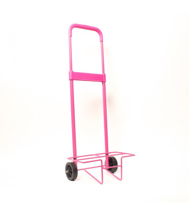 Metal structure with wheels for backpack
