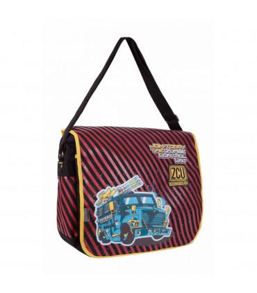 School shoulder bag with flap