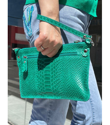 Leather Hand bag with snake print