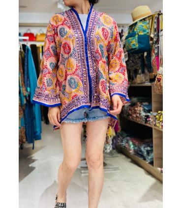 Kimono corto étnico bordado