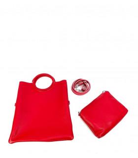Leather bag with circular handle