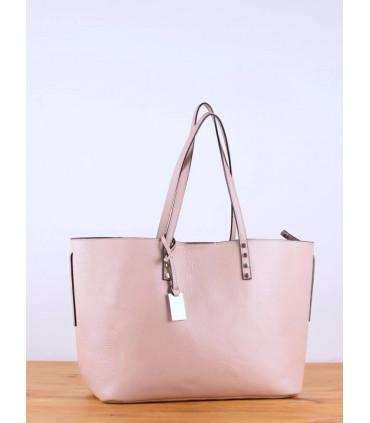 Leather shoulder bag with metal trim
