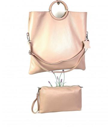Natural leather handbag and crossbag