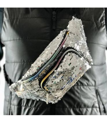 Chrome sequin nylon belt bag