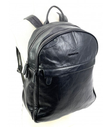 Synthetic leather backpack with two compartments