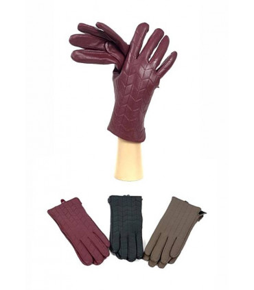 Leather gloves with relief print