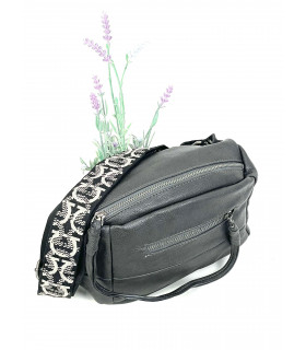 Synthetic leather fanny bag with nylon handle
