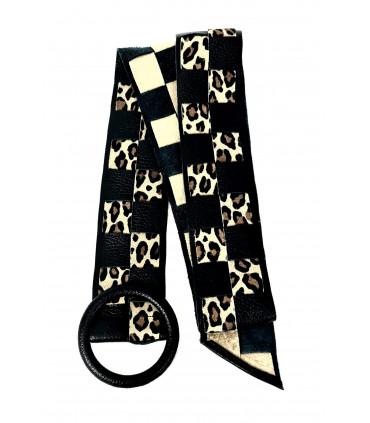 Cinturón de piel trenzado animal print