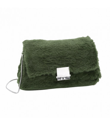 Bag with synthetic hair brooch