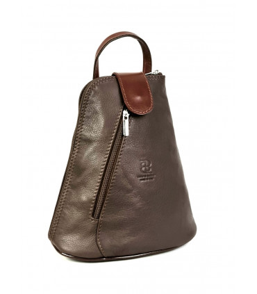 Two-color leather backpack (SMALL)