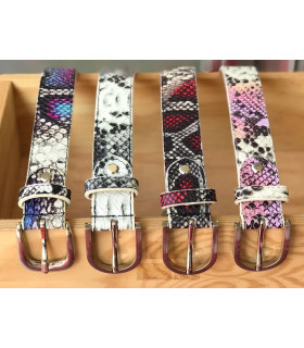 "Leather belt with exotic "" animal print """