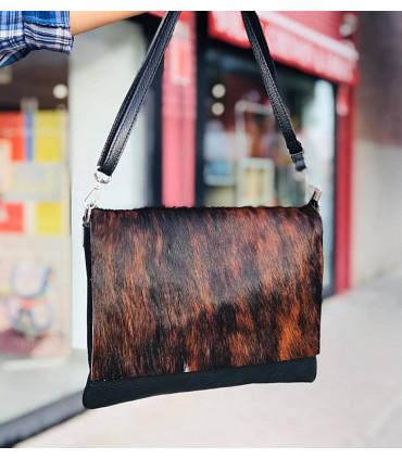 Fur leather envelope bag