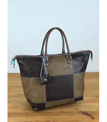 Leather square bag with 2 ways