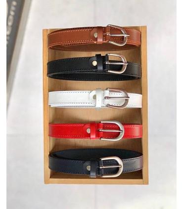 Cinturón de piel 2,2cm. de colores lisos
